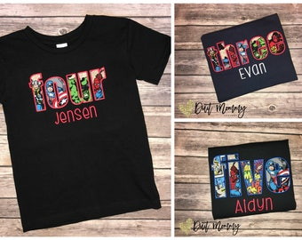 Superhero | Embroidered | Birthday Party Shirt | Personalized with Name and Age | Custom | Avengers