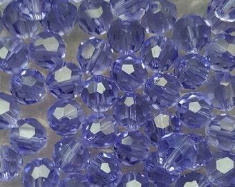 Swarovski 6mm Round (5000) Faceted Crystal Beads - Tanzanite x 20 Beads