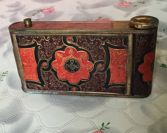 Vintage compact mirror 1930s Kamra compact camera compact leather vintage powder compact lipstick cigarette case 1940s compact combination