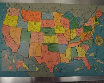 Vintage United States Map Puzzle