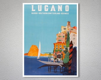 Lugano Switzerland Vintage Travel Poster - Poster Print, Sticker or Canvas Print