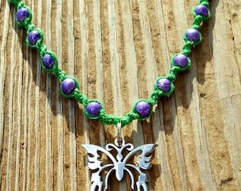 Riddled Butterfly Handmade Hemp Necklace
