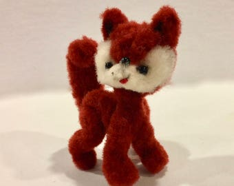 Vintage ARA Woolies, RED FOX, Pocket Pets, Jeretzian Figures, 4 inches Tall, Hand Made, Needle Felted Wool, Austria, Circa 1960s
