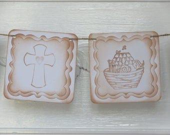 Baptism Christening Banner Noah's Ark and Crosses Banner