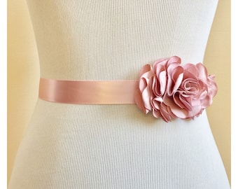 Dusty Pink Rosette Bridal Sash