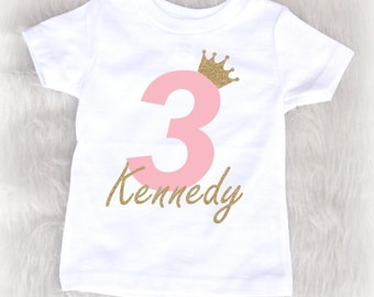 Princess third birthday shirt - pink and gold birthday shirt - 3rd birthday shirt - princess birthday - toddler birthday