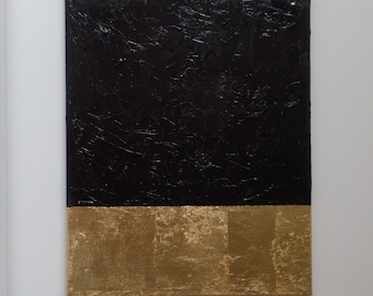 Abstract Canvas Acrlyic Painting Black Gold Texture Gold-leafing, Masculine, wall hanging, home decor, glamour, stylish art, trendy, fashion