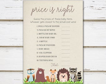 Printable Woodland Baby Shower Game, Price is Right, Guess the Prices, Woodland Price is Right, Quiz, Spring, Woodland, MB200