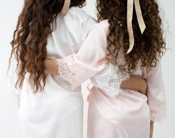 Flower Girl Robe // Bridal Robe // Bride Robe // Bridal Party Robes // Bridesmaid Gift // Silky Robe // Satin Robe // Robe // Floral Robes