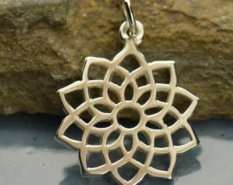 Sterling Silver Crown Chakra Charm. Sterling Silver Chakra Pendant.