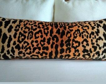 Leopard Velvet Pillow Cover Cheetah Velvet Extra Long Braemore Jamil 14x30 14x36 16x36 Lumbar Knife Edge or Welt