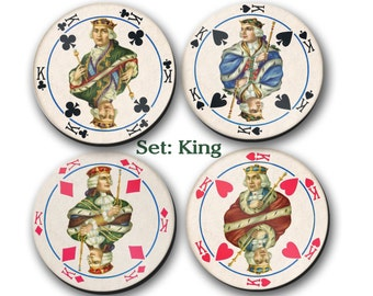 Coasters, Playing Cards, King, Queen, Aces,  (0043)