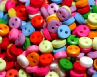 100 Tiny Buttons, bright colours, 6mm, craft buttons, scrapbooking, cardmaking, kawaii, mixed buttons, needlework, craft supplies, UK seller