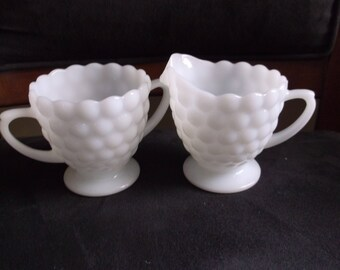 Vintage Cream and Sugar Set, White Milk Glass, Bubble Pattern, 50s by Anchor Hocking, Made in USA