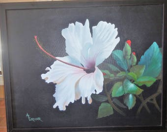Beautiful Hibiscus Print on Canvas/ Signed