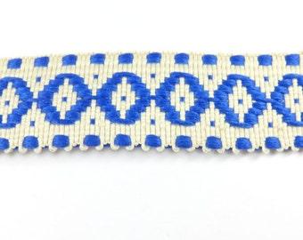 3 Meters Ribbon Cream Blue Cotton Fabric Evil Eye,Trim Ribbon 26mm