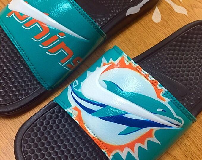 Nike Custom Miami Dolphins Football Benassi Swoosh Slide Sandals Flip flops Mens Womens Kids
