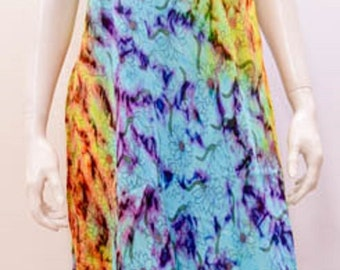 Plus size Tie Dye Sunflower Festival Summer Tunic Dress Blue 20 22 24