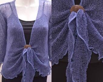 Boho chic crochet style knit shrug cardigan Indigo onesize 10 12 14 16 18 20