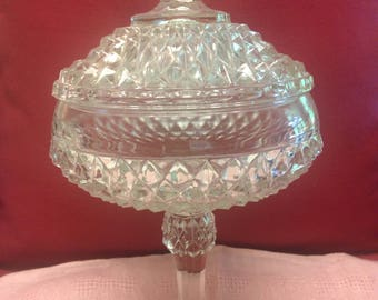 Diamond Point  Covered  Candy Dish/Compote   Indiana Glass