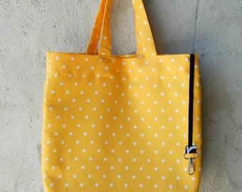 Tote bag polka dot, Padded tote, Yellow tote, Gift tote, Beach tote, Holidays tote, Mother's day gift, Sac cabas, Sac marché, Cadeau maman