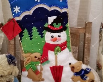 Beautiful Bucilla felt Christmas stocking with snowman and raccoon, rabbit