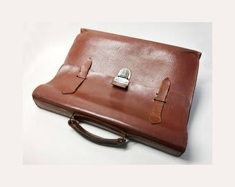 French Vintage Brown Leather Satchel - French Vintage Leather Bag
