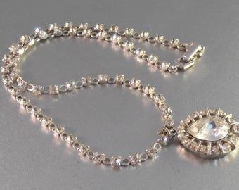 Trifari Rhinestone Necklace Choker, Tear Shaped Drop, Wedding Prom