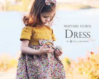 New Fall and Winter Dress, mustard baby dress, fall baby dress, floral dress