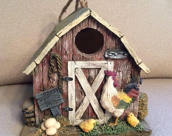 Birdhouse Hanging Country Red Barn With Chicken Garden