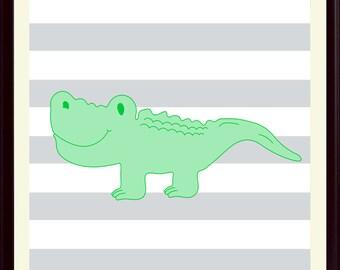 Nursery art, Crocodile poster, Animal print, Children gift, Kids room decor, Play room decor, Wall art, Wilde life poster, Crocodile art.