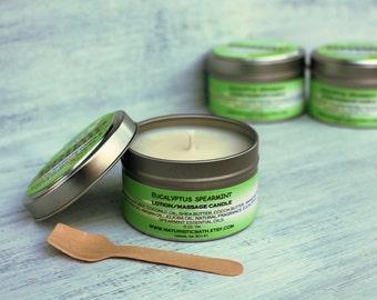 Eucalyptus Spearmint Lotion Massage Candle, made with Organic Shea Butter, Cocoa, Mango Butters, Argan, Jojoba Oils, Essential Oils