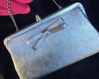Vintage 1950s silver metallic clutch, evening hand bag, purse, free shipping!