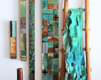 Arizona Highways Turquoise Trails Totem 9-60 ins Textured Wood Relief Sculpture Native Decor Art Patio Mantle Headboard Foyer O'Keeffe Kahlo