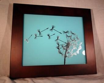 Silver Leaf Gilded Glass Dandelion In The Wind Frame Light Blue Aqua Wall Art