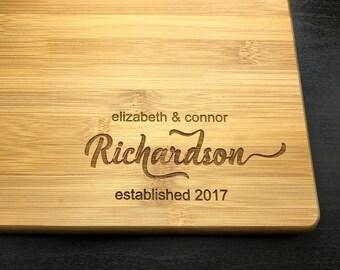 Couple Cutting Board, Engraved, Bamboo Board, Custom Cutting Board, Personalized, Wedding Gift, Housewarming Gift, Anniversary Gift-Monogram