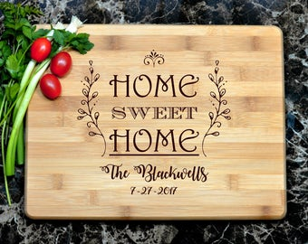 Home Sweet Home Cutting Board, Engraved Cutting Board, Custom Personalized Wedding Gift, Housewarming Gift, Bamboo Board, Realtor Gift
