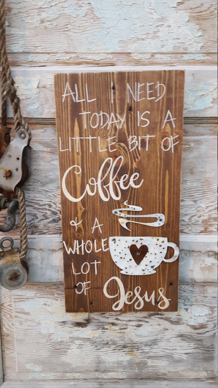 Coffee Decor For Kitchen Coffee Sign Coffee Jesus Sign Coffee Decor Rustic Sign