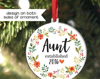New Aunt Christmas Ornament, Gift for Aunt, Personalized Holiday Ornament for Aunties