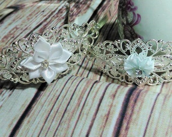 Silver Plated Elegant Filligree White Flower Head Bands, Christening Head Wear, 2 Styles Avail, Wedding Head wear, Girls Silver Head Band