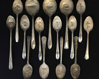 15 Flattened Hand Stamped Silver Plate Herb & Vegetable Garden Spoon Markers