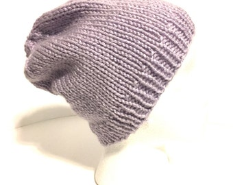 Lavendar slouchy hat, lavendar knit hat, lavendar winter hat, teen girl hat, feminine hat, ladies knit hat, hand knit slouch hat,