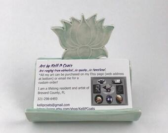 Ceramic Business Card Holder/Lotus/Flower/Jade