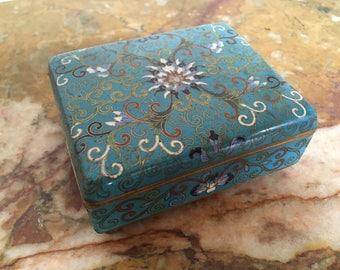 Vintage blue lotus cloisonné footed box #8