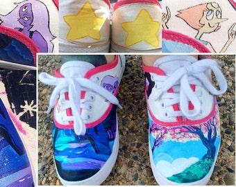 Handpainted Custom Shoes - Steven Universe: Garnet, Amethyst, Pearl & Steven Crystal Gems Mossimo Sneakers
