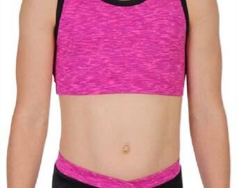 Space Dye Pink Crop Top 2 Piece Set Gymnastics or Dance Leotard