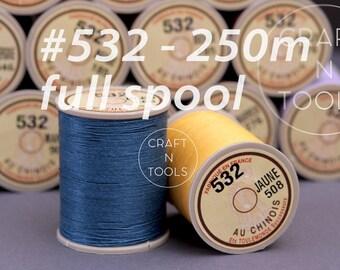 "Sajou Fil au Chinois ""Lin Cable"" Waxed Linen Thread Full Spool #532 (0.57mm)/Thread for Leather/Corded Thread/Saddlery Thread"
