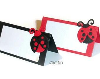 Mixed Black & Red Ladybug  Place Cards - Tent Style, Table Decoration-Set of 12pcs, 24pcs