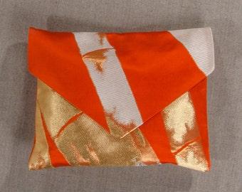 Gold and Red 100% Brocade Silk Envelope Clutch Bag / Evening Bag