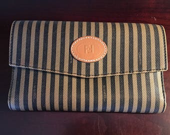 Vintage Fendi Wallet Rome Roma Italy Striped Stripes Coin Purse Checkbook Card Slots